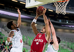 Isaac Rosefelt of Hapoel between Devin Oliver #5 of KK Union Olimpija and Nikola Jankovic #12 of KK Union Olimpija during basketball match between KK Union Olimpija Ljubljana (SLO) and Hapoel Jerusalem (ISR) in Round #4 of 7Days EuroCup 2016/17, on October 26, 2016 in Arena Stozice, Ljubljana, Slovenia. Photo by Vid Ponikvar / Sportida