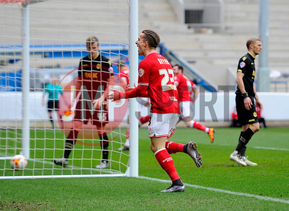 Joe Bryan of Bristol City celebrates the goal scored by Aaron Wilbraham of Bristol City  - Mandatory byline: Joe Meredith/JMP - 19/03/2016 - FOOTBALL - Ashton Gate - Bristol, England - Bristol City v Bolton Wanderers - Sky Bet Championship
