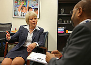 Senior Advisor for International Education Christie Vilsack (from left) talks with Tesfaye Kelemework, USAID Deputy Office Chief for the Office of Education in Ethiopia, in her office at the U.S. Agency for International Development (USAID) in the Ronald Reagan Building and International Trade Center in Washington, DC on Friday, April 12, 2013.