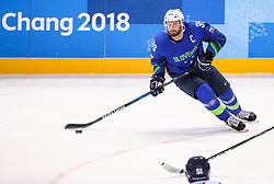 GANGNEUNG, SOUTH KOREA - FEBRUARY 17: Jan Mursak of Slovenia during the ice hockey match between Slovenia and Slovakia in  the Preliminary Round on day eight of the PyeongChang 2018 Winter Olympic Games at Kwangdong Hockey Centre on February 17, 2018 in Gangneung, South Korea. Photo by Kim Jong-man / Sportida