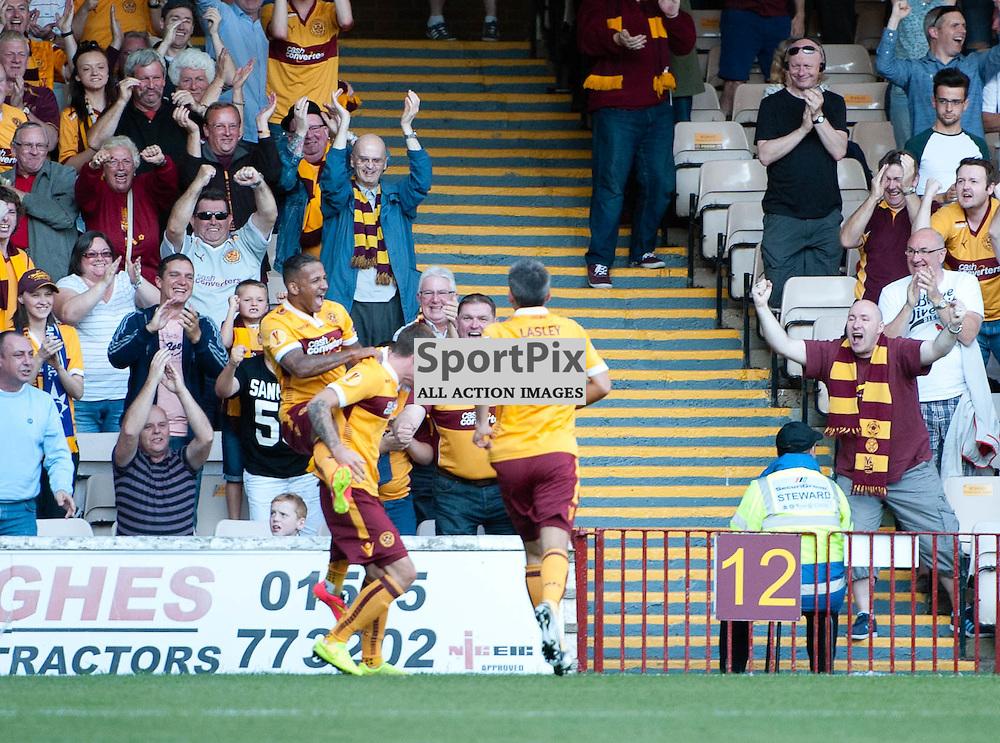 Lionel Ainsworth congratulates Josh Law after he scores for Motherwell. Motherwell v Stjarnan FC, Europa League Qualifier, Fir Park, Thursday 17 July 2014 (c) ANGIE ISAC | SportPix.org.uk
