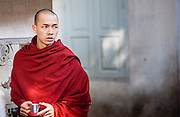 Young Buddhist monk wrapped in his maroon robe (Mynamar)