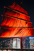 Aqualuna, a traditional Chinese junk sailing Hong Kong Harbour