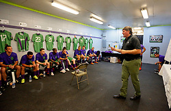07 May 2016. New Orleans, Louisiana.<br /> NPSL Soccer, Pan American Stadium.<br /> Head coach Kenneth Farrell gives his team talk before kick off for the first game of the season as the New Orleans Jesters take on the Houston Hurricanes. Jesters win 3-0. <br /> Photo; Charlie Varley/varleypix.com