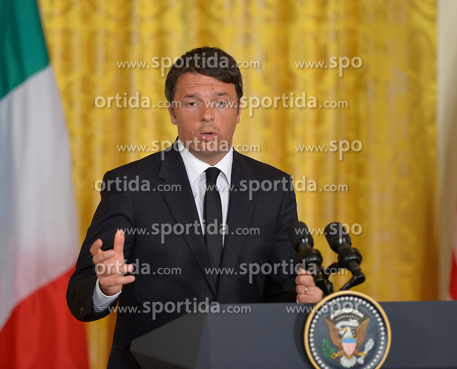 Italian Prime Minister Matteo Renzi speaks during a joint press conference with U.S. President Barack Obama (not seen in picture) at White House in Washington D.C, capital of the United States, April 17, 2015. U.S. President Barack Obama on Friday urged Gulf countries to be &quot;more cooperative&quot; in diffusing the conflict in Libya. EXPA Pictures &copy; 2015, PhotoCredit: EXPA/ Photoshot/ Bao Dandan<br /> <br /> *****ATTENTION - for AUT, SLO, CRO, SRB, BIH, MAZ only*****