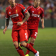 Daniel Agger,Liverpool, in action during the Liverpool Vs AS Roma friendly pre season football match at Fenway Park, Boston. USA. 23rd July 2014. Photo Tim Clayton