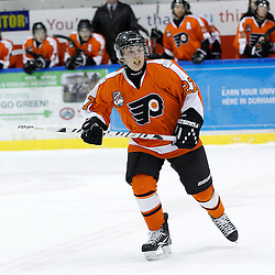 Whitby, ON - Feb 11 : Ontario Junior Hockey League game action between the Whitby Fury and the Orangeville Flyers. Orangeville Flyers Lucas Smilsky #27 during first period game action.<br /> (Photo by Tim Bates / OJHL Images)