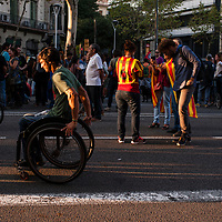 Tuesday, 03 October 2017. Barcelona, Catalonia.  Catalan referendum. People gathered in Barcelona. People on the adjacents streets of the main rally. <br /> As a reaction for the brutality of the spanish police and to support the results of referendum a general strike was decalred on Tuesday 3rd of October 2017.