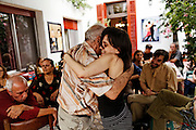 Tete (the older man with flowered shirt) is going to Italy to perform as a tango dancer, and his friends have organized a farewell lunch for him. They are gathered in the Casa de Gerard, a little hotel for tango fans.