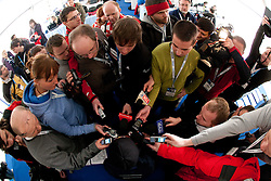 Third placed in  Ski Jumping World Cup overall classification Adam Malysz of Poland interviewed by journalists  when he retires of ski jumping career after the Flying Hill Individual at 4th day of FIS Ski Jumping World Cup Finals Planica 2011, on March 20, 2011, Planica, Slovenia. (Photo by Vid Ponikvar / Sportida)