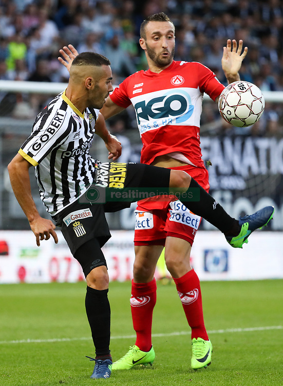 July 29, 2017 - Charleroi, BELGIUM - Charleroi's Stergos Marinos and Kortrijk's Idir Ouali fight for the ball during the Jupiler Pro League match between Sporting Charleroi and KV Kortrijk, in Charleroi, Saturday 29 July 2017, on the first day of the Jupiler Pro League, the Belgian soccer championship season 2017-2018. BELGA PHOTO VIRGINIE LEFOUR (Credit Image: © Virginie Lefour/Belga via ZUMA Press)