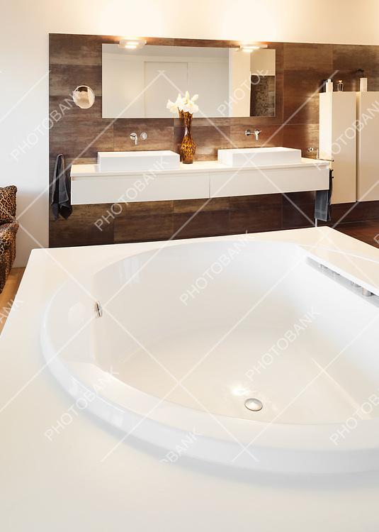beautiful interiors of a modern house, bathroom