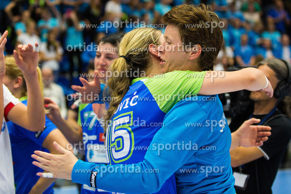 Sergeja Stefanisin of Slovenia celebrating win after the handball match between Women national teams of Slovenia and Croatia in Round #5 of Qualifications for Women's EHF EURO 2016 Championship in Sweden, on June 1, 2016 in Arena Golovec, Celje, Slovenia. Photo by Ziga Zupan / Sportida