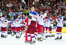 Yevgeni Malkin of Russia, Alexander Ovechkin of Russia and other players of Russia look dejected after the Ice Hockey match between Canada and Russia at Final game of 2015 IIHF World Championship when Team Canada became World Champion 2015, on May 17, 2015 in O2 Arena, Prague, Czech Republic. Photo by Vid Ponikvar / Sportida