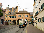 Fischertor, the Fisherman's Gate, in Augsburg, Germany on an overcast day.