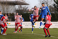 Omar Sowunmi of Lowestoft Town (2nd right) goes close with a header on goal during the Conference North match at St. James Park, Brackley<br /> Picture by David Horn/Focus Images Ltd +44 7545 970036<br /> 24/01/2015