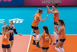 11-10-2018 JPN: World Championship Volleyball Women day 12, Nagoya<br /> Netherlands - Serbia 3-0 / Lonneke Sloetjes #10 of Netherlands, Maret Balkestein-Grothues #6 of Netherlands, Juliet Lohuis #7 of Netherlands, Kirsten Knip #1 of Netherlands