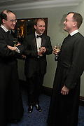 Father Rupert McHardy, Christopher Hutton and Father Michael Lang. White Knights Ball, Grosvenor House Hotel 7 January 2005. ONE TIME USE ONLY - DO NOT ARCHIVE  © Copyright Photograph by Dafydd Jones 66 Stockwell Park Rd. London SW9 0DA Tel 020 7733 0108 www.dafjones.com