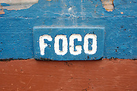 09 JAN 2006, SAO FELIPE/FOGO/CAPE VERDE:<br /> Schriftzug &quot;Fogo&quot; an einem Fischerboot, Insel Fogo, Kapverdischen Inseln<br /> Name &quot;Fogo&quot; on a Fisherboat, island Fogo, Cape verde islands<br /> IMAGE: 20060109-01-018<br /> KEYWORDS: Travel, Reise, Natur, nature, Meer, sea, seaside, K&uuml;ste, Kueste, coast, cabo verde, Dritte Welt, Third World, Kapverden, Schiff, meer, Sea,
