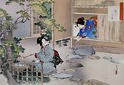 Entrance to the Tea Rooms' by Mizuno Toshikata (1866-1908). Japanese.
