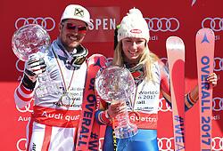 19.03.2017, Aspen, USA, FIS Weltcup Ski Alpin, Finale 2017, Gesamtweltcup, Siegerehrung, im Bild v.l. Marcel Hirscher (AUT, Slalom Riesenslalom und Gesamt Weltcup Sieger), Mikaela Shiffrin (USA, Gewinnerin des Slalom und des Gesamt Weltcup) mit ihren Kristrallkugeln für den Gesamtweltcup // f.l. Winner of Slalom Giant Slalom and Overall World Cup Marcel Hirscher of Austria and Winner of the Slalom and the Overall World Cup Mikaela Shiffrin of the USA with their crystal globes for the overall World Cup during the winner award ceremony for the overall winner of 2017 FIS ski alpine world cup finals. Aspen, United Staates on 2017/03/19. EXPA Pictures © 2017, PhotoCredit: EXPA/ Erich Spiess