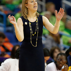 April 7, 2013; New Orleans, LA, USA; California Golden Bears head coach Lindsay Gottlieb instructs against the Louisville Cardinals during the second half in the semifinals during the 2013 NCAA womens Final Four at the New Orleans Arena. Mandatory Credit: Derick E. Hingle-USA TODAY Sports