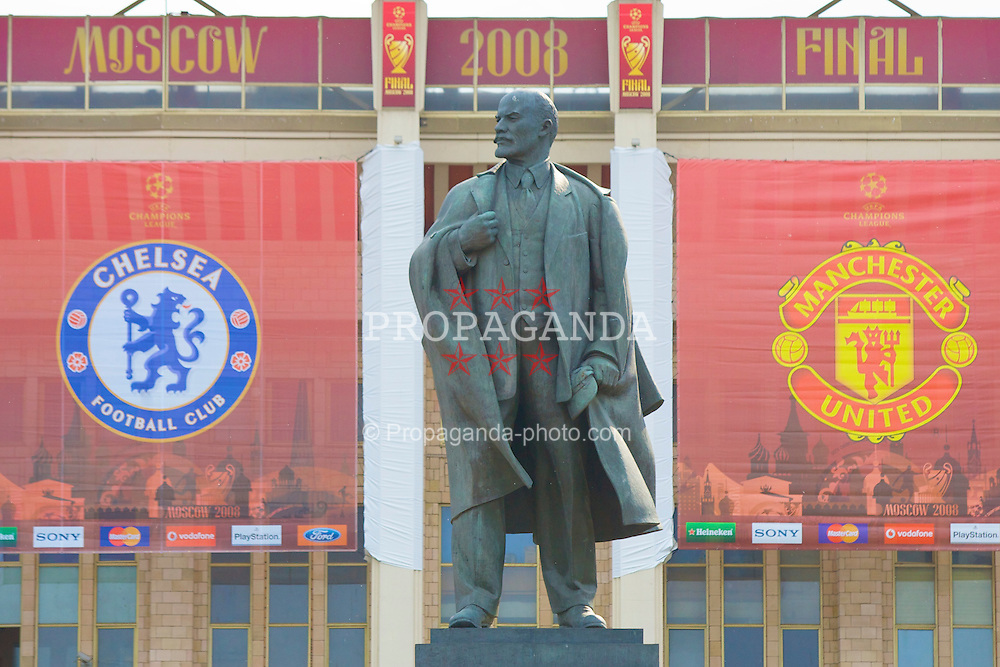 MOSCOW, RUSSIA - Tuesday, May 20, 2008: A huge statue of Vladimir Ilyich Lenin, Russia's great Socialist leader, welcomes supporters to the Luzhniki Stadium ahead of the UEFA Champions League Final between Chelsea and Manchester United. (Photo by David Rawcliffe/Propaganda)
