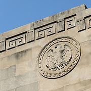 American Eagle Emblem in Stone Overpass. An eagle emblem on a bridge overpass over Independence Avenue running parallel to the National Mall in Washingotn DC.