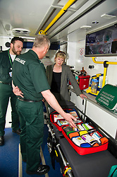 Pictured: Callum Johnston, Specialist papamedic and winner of the Association of Chief Executives UK manager of the year, Ian Stark show Shona Robision the new pack of medicines they can dispense<br /> <br /> Health Secretary Shona Robison met paramedics today on a visit to Scottish Ambulance Service's city station where she announced new funding for the service<br /> Ger Harley | EEm 24 April 2017