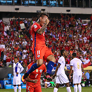 Chile Attacker EDUARDO VARGAS (11) celebrates his second goal of the game in the first half of a Copa America Centenario Group D match between the Chile and Panama Tuesday, June. 14, 2016 at Lincoln Financial Field in Philadelphia, PA.