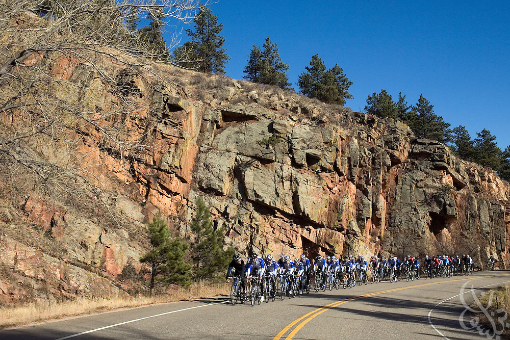 Team Garmin-Chipotle cyclists are seen on a team ride in a canyon on the outskirts of Boulder, Colorado November 22, 2008. The Garmin-Chipotle team is at the forefront of a new effort within the professional cycling world to establish strict new anti-doping/drug standards.  The team not only tests its riders for drugs, but has established biological profiles of team members that can be more easily monitored for changes that would indicate the use of illegal performance enhancing drugs or blood doping techniques.