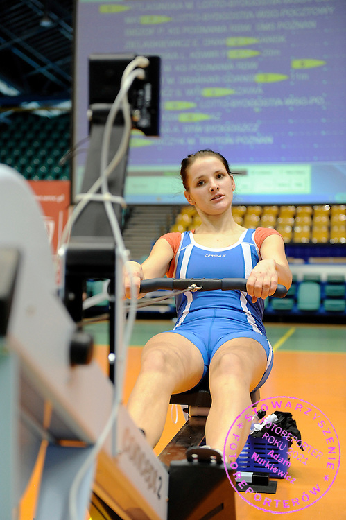 MARTA RYCHTER COMPETES DURING 20TH POLISH CHAMPIONSHIPS IN ROWING ERGOMETER AT ORBITA HALL IN WROCLAW, POLAND...WROCLAW , POLAND , JANUARY 29, 2011..( PHOTO BY ADAM NURKIEWICZ / MEDIASPORT )