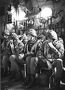 PHOTOGRAPH BY HOWARD BARLOW..........Parachuters prepare for jump in HERCULE'S aircraft..19/10/1988
