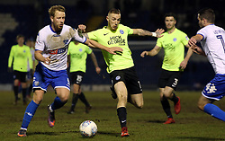 Marcus Maddison of Peterborough United in action with Adam Thompson of Bury - Mandatory by-line: Joe Dent/JMP - 13/03/2018 - FOOTBALL - Gigg Lane - Bury, England - Bury v Peterborough United - Sky Bet League One