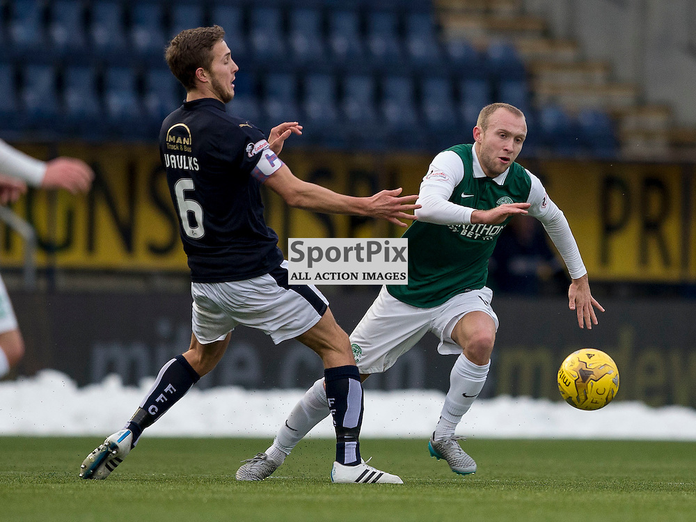 Falkirk v Hibernian   SPFL season 2015-2016  <br /> <br /> Dylan McGeouch (Hibernian) skips past Will Vaulks (Falkirk) during the Ladbrokes Championship match between Falkirk v Hibernian at Falkirk Stadium on Sunday 17 January 2016<br /> <br /> Picture: Alan Rennie