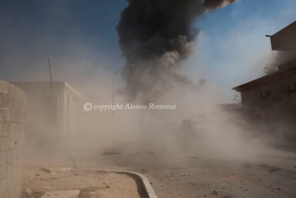 Libya, Sirte: moments after an ISIS car bomb exploded killing three and injuring 15 fighters sympathising with Libya's Government of National Accord's (GNA) . Alessio Romenzi