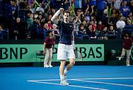 Andy Murray of Great Britain expresses his delight after winning the first set during the Davis Cup match by BNP Paribas between Great Britain and Japan at the National Indoor Arena, Birmingham.<br /> Picture by Russell Hart/Focus Images Ltd 07791 688 420<br /> 06/03/2016