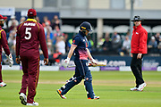 Wicket - Eoin Morgan of England walks back to the pavilion looking dejected after being dismissed by Jason Holder of West Indies for a duck during the One Day International match between England and West Indies at the Brightside County Ground, Bristol, United Kingdom on 24 September 2017. Photo by Graham Hunt.