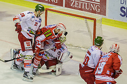 30.12.2015, Stadthalle, Klagenfurt, AUT, EBEL, EC KAC vs HCB Suedtirol, 37. Runde, im Bild Luca Franza (HCB Suedtirol #28), Jamie Lundmark (EC KAC, #74), Hübl Jaroslav (HCB Suedtirol #24), Brett Flemming (HCB Suedtirol #20), Jean-François Jacques (EC KAC, #39)// during the Erste Bank Eishockey League 37th round match match betweeen EC KAC and HCB Suedtirol at the City Hall in Klagenfurt, Austria on 2015/12/30. EXPA Pictures © 2015, PhotoCredit: EXPA/ Gert Steinthaler