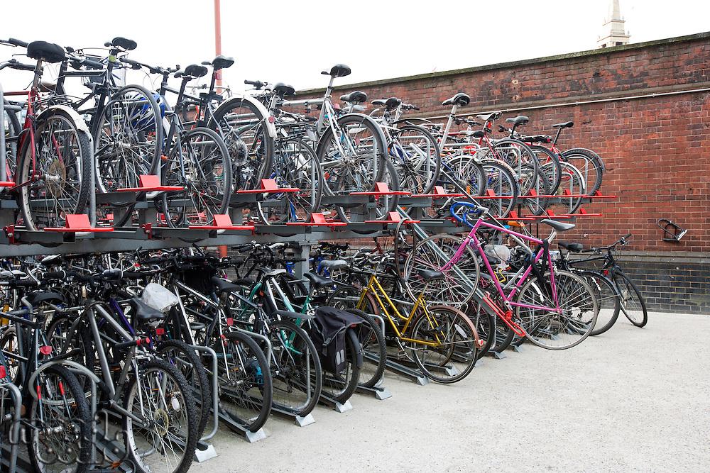 Bicycles parked in storage racks