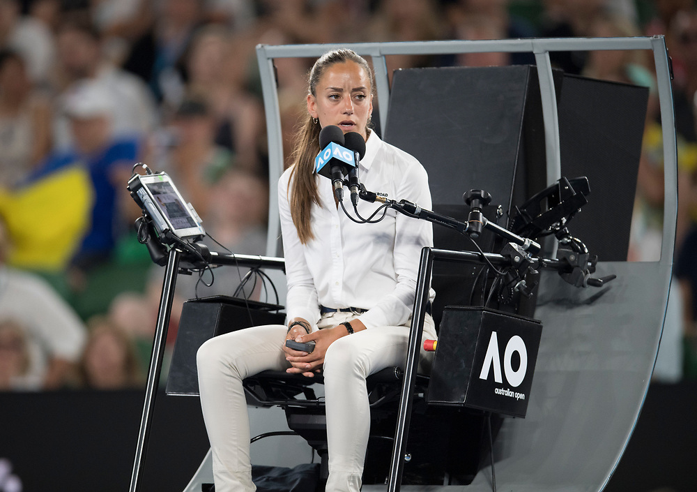 The Chair Umpire during the women's singles championship match during the 2018 Australian Open on day 13 in Melbourne, Australia on Saturday night January 27, 2018.<br /> (Ben Solomon/Tennis Australia)