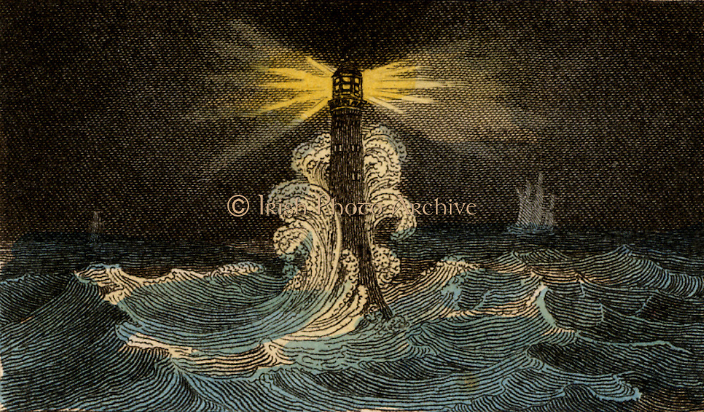 The fourth Eddystone lighthouse built on the Stone 13 miles South-east of Polperro, Cornwall, England, which claimed up to 50 ships a year.  Built by  the English civil engineer John Smeaton (1724-1792) beginning in 1756 it was in operation for 127 years. From 'Scenes in England' by the Rev. Isaac Taylor, London, 1822. Hand-coloured engraving.