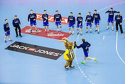 Players of Celje during handball match between RK Celje Pivovarna Lasko (SLO) and Rhein-Neckar Loewen (GER) in Round 6 of EHF Champions League 2014/15, on November 23, 2014 in Arena Zlatorog, Celje, Slovenia. Photo by Vid Ponikvar / Sportida