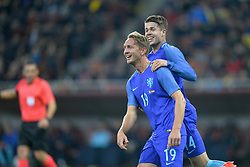 November 14, 2017 - Bucharest, Romania - Luuk de Jong of Netherlands celebrates during International Friendly match between Romania and Netherlands at National Arena Stadium in Bucharest, Romania, on 14 november 2017. (Credit Image: © Alex Nicodim/NurPhoto via ZUMA Press)