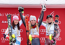 17.03.2018, Aare, SWE, FIS Weltcup Ski Alpin, Finale, Aare, Slalom Weltcup, Damen, Siegerehrung, im Bild v.l. Wendy Holdener (SUI, Slalom Weltcup 2. Platz und Tageswertung Slalom 2. Platz), Slalom Weltcup Sieger Mikaela Shiffrin (USA, Frida Hansdotter (SWE, Slalom Weltcup 3. Platz und Tageswertung Slalom 3. Platz) // f.l. today Slalom second placed and Slalom World Cup second placed Wendy Holdener of Switzerland Mikaela Shiffrin of the USA today Slalom third placed and Slalom World Cup third placed Frida Hansdotter of Sweden during the winner Ceremony for the ladie's Slalom Worlcup of FIS Ski Alpine World Cup finals in Aare, Sweden on 2018/03/17. EXPA Pictures © 2018, PhotoCredit: EXPA/ Johann Groder