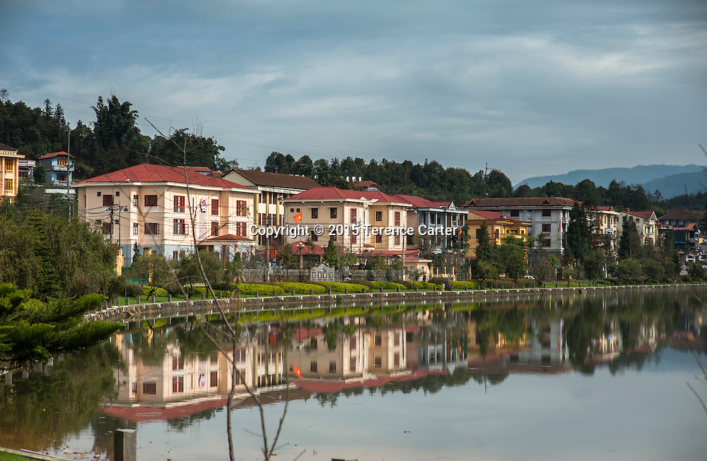 Reflections on the lake in Sapa, Vietnam.