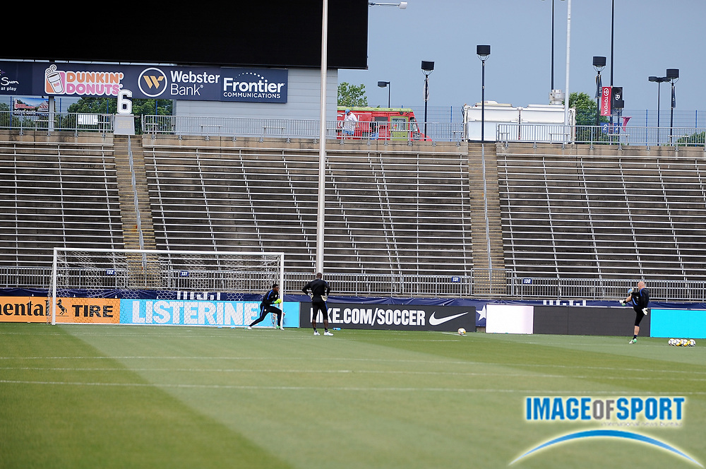 June 30, 2017; East Hartford, CT, USA;  United States goalkeeper Brad Guzan trains with fellow keepers Sean Johnson and Bill Hamid during a training session at Rentschler Field. Photo by Reuben Canales