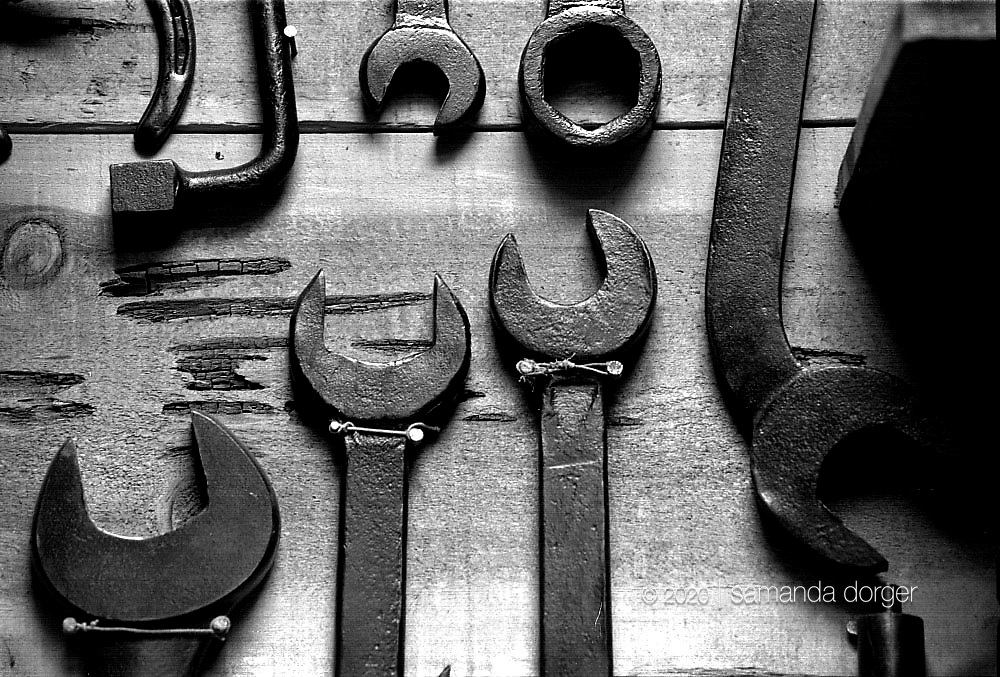 Tools on a shed wall..A larger file of this image may be available.
