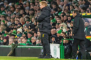 A discontented Celtic Manager Neil Lennon during the Europa League match between Celtic and FC Copenhagen at Celtic Park, Glasgow, Scotland on 27 February 2020.