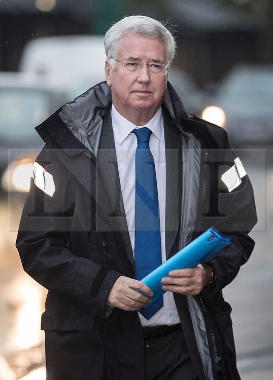 "© Licensed to London News Pictures. 04/11/2017. Swanley, UK. Former Defence Secretary Sir Michael Fallon arrives for a constituency meeting Swanley. Sir Michael resigned his cabinet position after admitting that his behaviour towards women in the past has ""fallen short"". Photo credit: Peter Macdiarmid/LNP"
